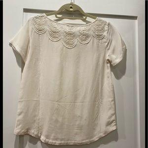Club Monaco white shirt with detailed neck